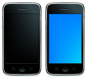2 Phones or iPhones. Vector. 2 Mobile Phones Or Smartphones With Touchpades And Buttons, Isolated On White Stock Photos