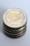 2 pièces de monnaie euro Photos libres de droits