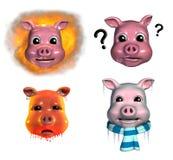 2 piggy emoticons royaltyfri illustrationer