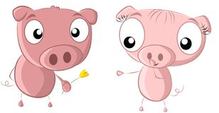 2 pigs flower. A pig offering his partner a flower Royalty Free Stock Photos