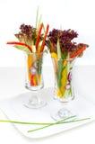 2 plantaardige salades in glas Royalty-vrije Stock Foto
