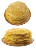 2 plates with pancakes on a white bac Stock Images