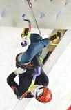 2. Platz Han Na Rai Songs (Korea) an der Führung der Frauen an UIAA-Eis-kletternder Weltmeisterschaft von Saas-Gebühr 2015 Lizenzfreie Stockfotos