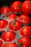 2 pomidorów czereśniowych wody. Obrazy Royalty Free