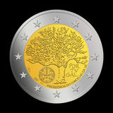 2 Portuguese euro coin. This is a 2007 special edition of a Portuguese 2 euro coin, on the memory of Portugal as president of the European Council Royalty Free Stock Image
