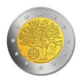 2 Portuguese Euro Coin. A special edition of a Portuguese 2 euro coin on the memorial of Portugal as president of the EU council Stock Photo