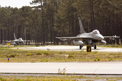 2 Portuguese F16 taxing. Royalty Free Stock Image