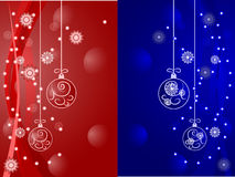 2 postcads with  balls. Cristmas cards  with blue and red balls Stock Image