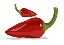 2 red hot chilli. In white background. ai file also available vector illustration