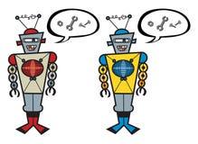 2 retro robots talking. Nuts and bolts - cartoon character illustration Royalty Free Stock Image