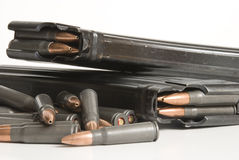 2 rifle magazines and bullets. Royalty Free Stock Photos