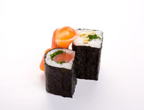 2 rolls of sushi with fish. Isolated odject on a white background Stock Image
