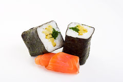 2 rolls of sushi with fish. On a white background Royalty Free Stock Photos