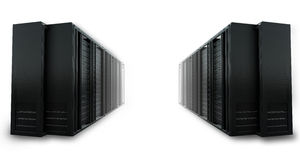 2 rows of cloud computing servers. On a white background Royalty Free Stock Image