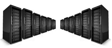 2 rows of Servers with green lights on Stock Photo