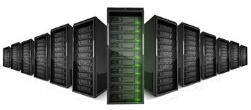 2 rows of Servers with green lights on Stock Image