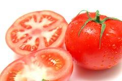 2 saftiga perfekta tomater Arkivfoto