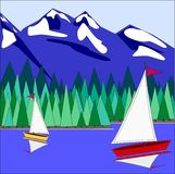 2 Sailboats on the lake Royalty Free Stock Photo