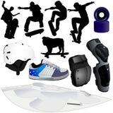 2 samlingsillustrationer part skateboarding stock illustrationer