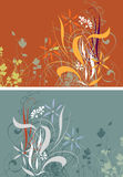 2 season's floral backgrounds. Backgrounds with two seasondecorative floral elements Stock Image