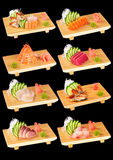 2 set sushi för black Royaltyfria Bilder