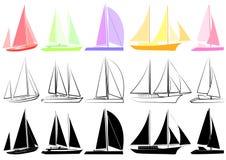 2 set yachter stock illustrationer
