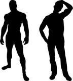 2 sexy men silhouettes. On white background Royalty Free Stock Photos