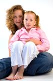 2 sisters cuddling Royalty Free Stock Photo