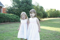 2 sisters enjoying the outdoors Royalty Free Stock Photos