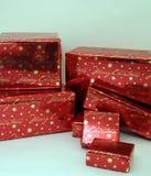 2 slågna in presentsserie för jul boxes1 Arkivbild