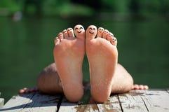 2 smileys för fingergruppnatur Arkivbild