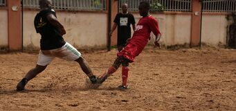 2 Soccer Player Playing for a Ball Royalty Free Stock Image