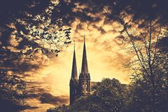 2 Spire Building and Trees Painting Stock Image