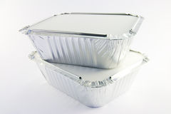 2 square foil catering trays Royalty Free Stock Image