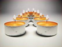 2 stearinljus ljus reflexion Arkivbild