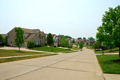2-story Brick Suburban Homes Stock Image