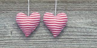 2 Striped сердца ткани Стоковая Фотография RF