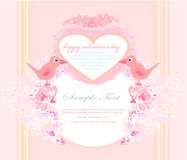 2 sweet love birds. Valentine's day greeting card with 2 sweet love birds vector illustration