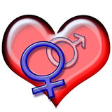 2 symbolem miłości Fotografia Royalty Free