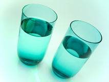 2 szklanki wody. Zdjęcia Stock