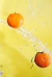 2 tangerines и воды брызгают Стоковая Фотография