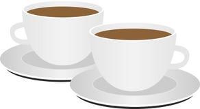 2 tazas de café en el fondo blanco ilustración del vector