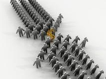2 teams working towards profit. 3D rendered image of 2 teams working towards the same profit Royalty Free Stock Photos