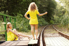2 teen woman relaxing Royalty Free Stock Photography