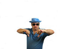 2 Thumbs Down SG. A man in a hat with sunglasses pointing his 2 thumbs down, over white Royalty Free Stock Photography