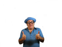 2 thumbs up MG. A man wearing magnifing glasses holding 2 thumbs up,over white Stock Image