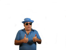 2 Thumbs up SG. A man wearing a hat and sunglasses pointing 2 thumbs up,over white Royalty Free Stock Photos