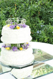 2 tier wedding cake on mirrored tiles Stock Photos