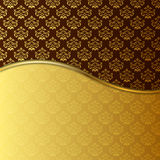 2 tone Gold damask Backdrop. Damask pattern in gold and brown. Parted by a small golden line. Good for Menu cards, invitations and luxury catalogues or flyers Stock Images