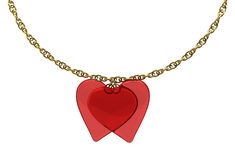 2 transparent hearts with a gold chain Stock Photos